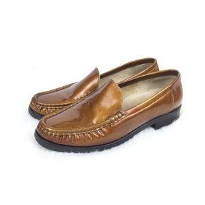 Mokassin Loafer Ara Brown Leather Genuine Gold L34AjR5